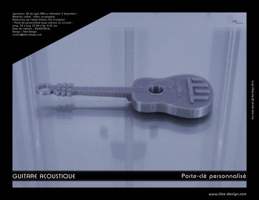 Porte-clé personnalisé guitare acoustique print 3D 2