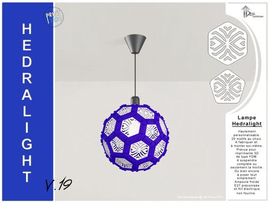 Luminaire Hedralight lustre modele V.19 bleu foncé