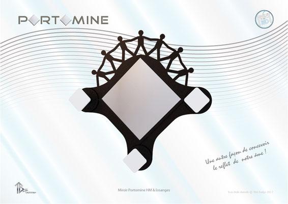 Miroir & patères Portomine HM & losanges print 3D
