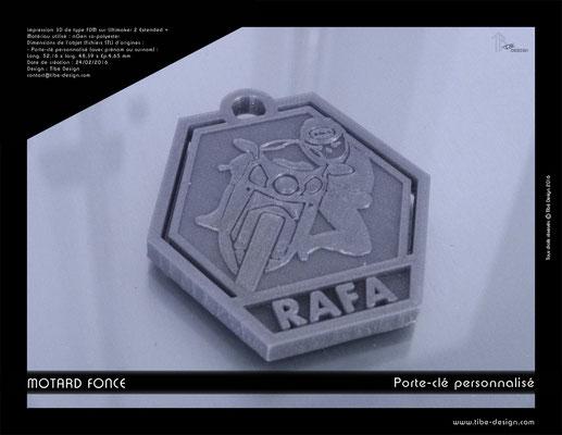 Porte-clé personnalisé motard fonce print 3D 1