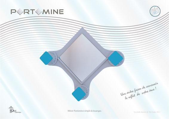 Miroir & patères Portomine simple print 3D