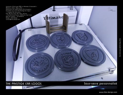Sous-verre et porte sous-verre The Prestige Car Logos impression 3D 04