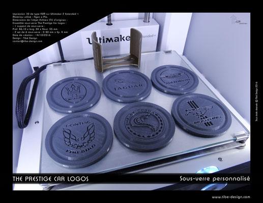 Sous-verre et porte sous-verre The Prestige Car Logos impression 3D 05