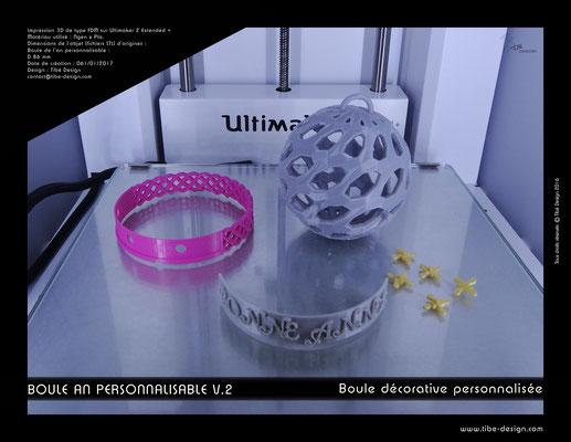 Boule décorative de l'an personnalisable V.2 05