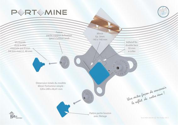 Miroir & patères Portomine print 3D  décompo