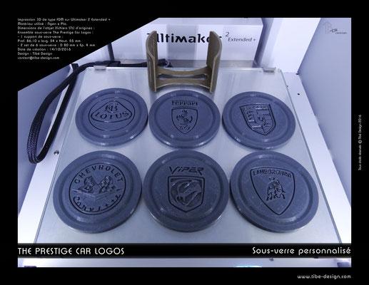 Sous-verre et porte sous-verre The Prestige Car Logos impression 3D 08