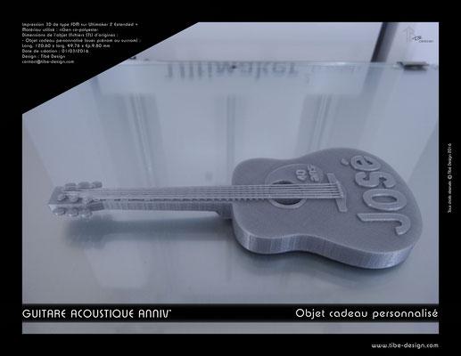Objet cadeau personnalisé guitare acoustique print 3D 3