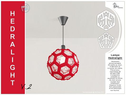 Luminaire Hedralight lustre modele V.2 rouge
