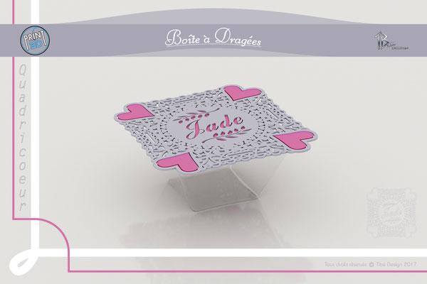 Avant projet boîte à dragées Quatre Coeurs modèle 3D 1