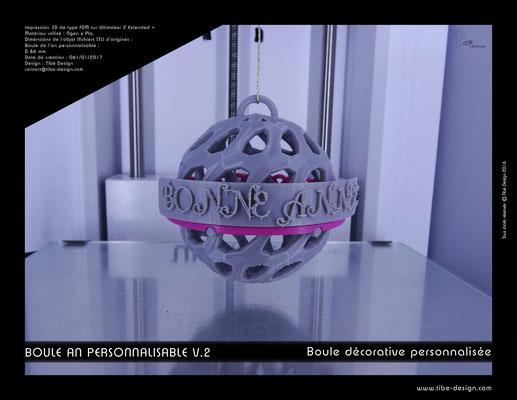 Boule décorative de l'an personnalisable V.2 03