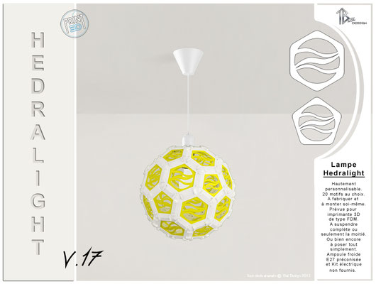 Luminaire Hedralight lustre modele V.17 blanc jaune