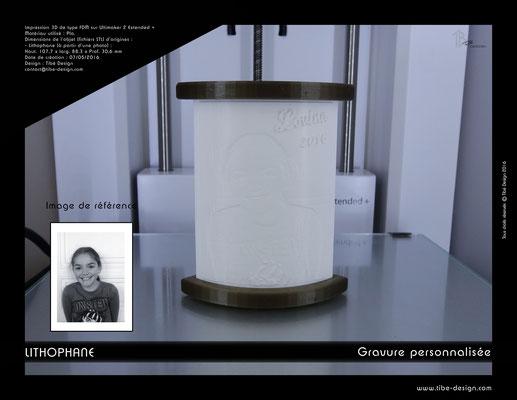 Objet cadeau design Lithophane print 3D 1