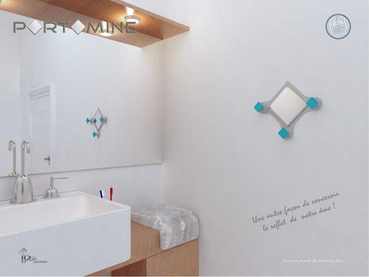 Miroir & patères Portomine print 3D salle de bain