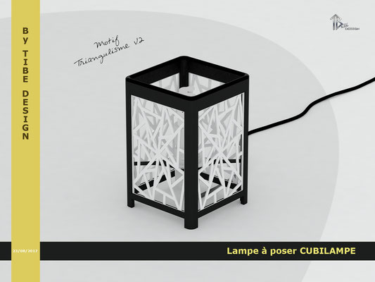 Lampe à poser design Cubilampe impression 3D motif 02