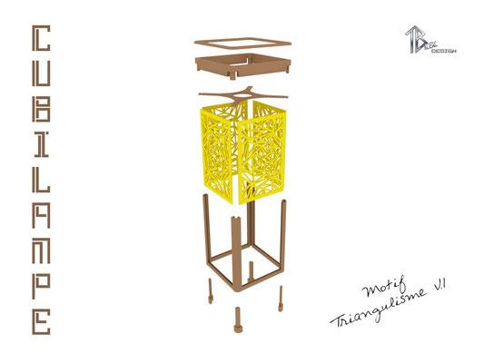 Lampe à poser design Cubilampe impression 3D montage 01