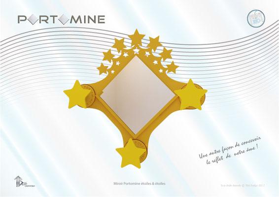 "Miroir & patères Portomine étoiles ""Star"" & étoiles print 3D"