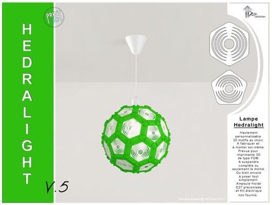 Luminaire Hedralight lustre modele V.5 vert
