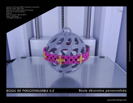 Boule décorative de l'an personnalisable V.2 04