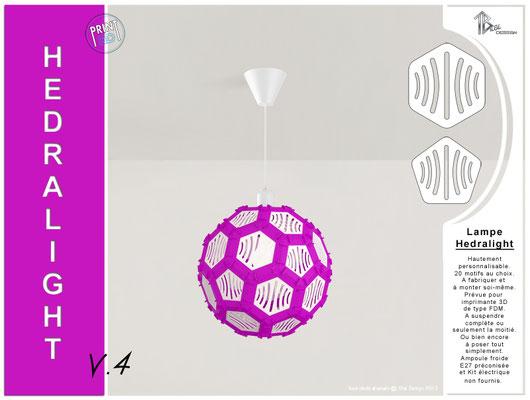 Luminaire Hedralight lustre modele V.4 violet