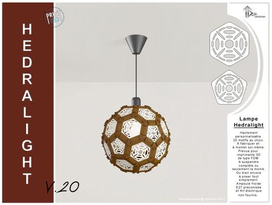 Luminaire Hedralight lustre modele V.20 marron foncé
