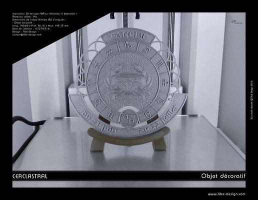 Objet déco design Print 3D Cerclastral Cancer 1