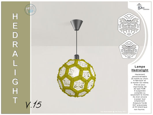 Luminaire Hedralight lustre modele V.15 gris vert