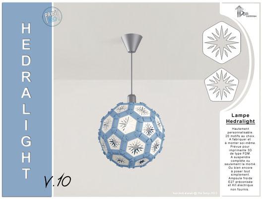 Luminaire Hedralight lustre modele V.10 bleu gris
