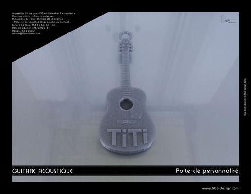 Porte-clé personnalisé guitare acoustique print 3D 1