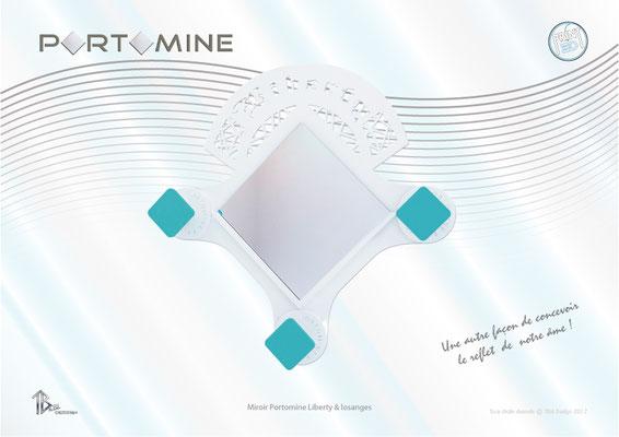 Miroir & patères Portomine Liberty & losanges print 3D