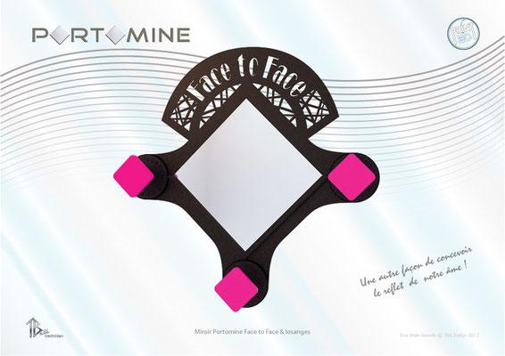 Miroir & patères Portomine Face to Face & losanges print 3D
