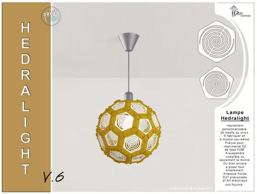 Luminaire Hedralight lustre modele V.6 marron clair