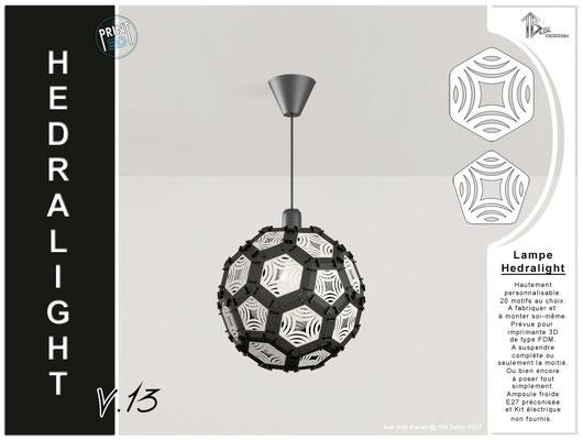 Luminaire Hedralight lustre modele V.13 noir