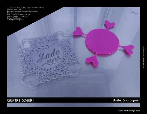Dessus de boîte à dragées Quatre Coeurs impression 3D 2