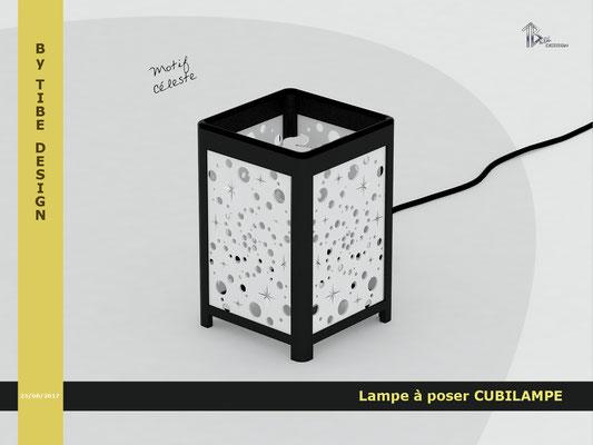 Lampe à poser design Cubilampe impression 3D motif 05