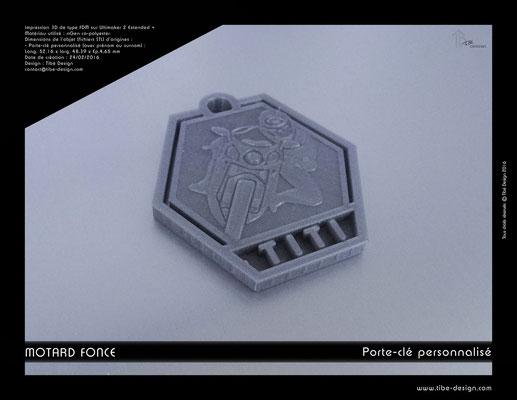 Porte-clé personnalisé motard fonce print 3D 3