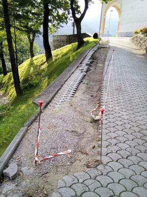 Perforazione e iniezione di micropali a capra zoppa per successiva realizzazione cordolo per sostegno strada - Piemonte -Provincia di Cuneo