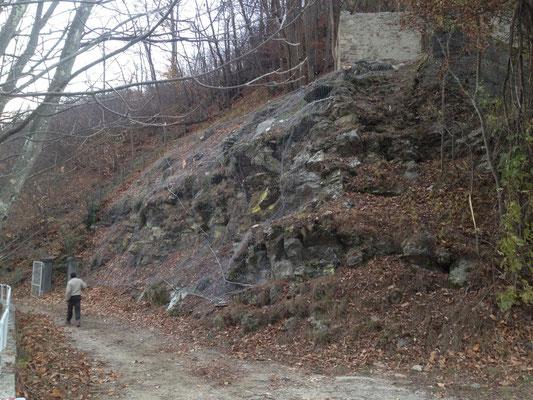Posizionamento di reti paramassi su scarpata dopo pulizia e disbosco - Provincia di Savona