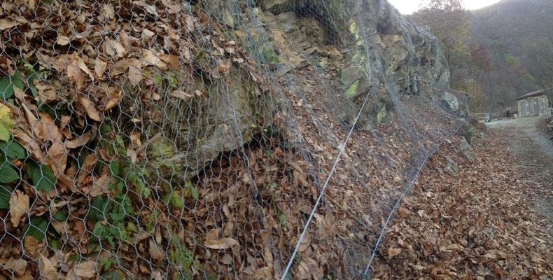 Posizionamento di reti paramassi su scarpata dopo pulizia e disbosco - Liguria - SV
