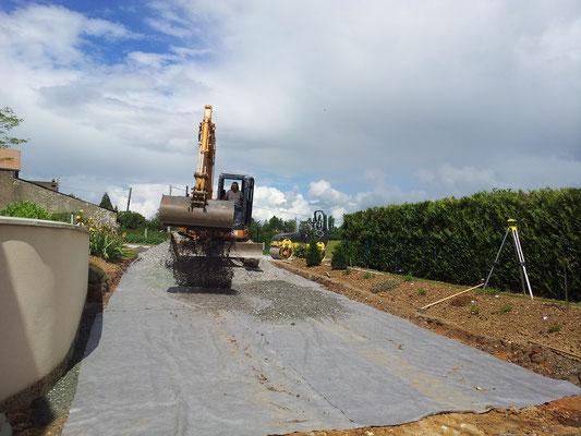CAZORLA TP : préparation cour, chemin, trottoirs pour travaux d'aménagement extérieur