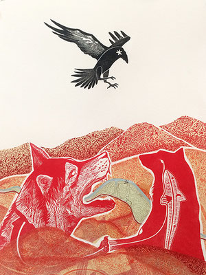 """Hills Breathe. Raven Hills. 2017, approx 22""""h x 16""""w, multiple plate relief engraving, collage, mixed media. Created as an artist in residence at Jentel Foundation in Banner, WY. SOLD."""