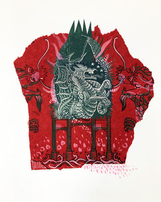 """Dragon, East and West,  approx 10""""h x 8""""w, relief engraving, collage, mixed media SOLD"""