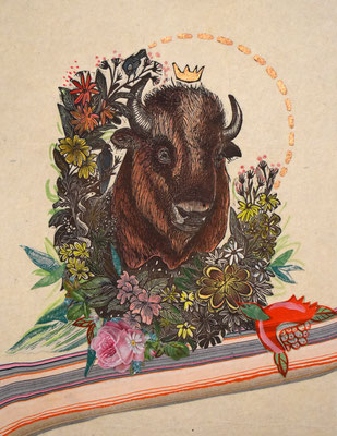 """Trophy III, Bison, Collage. 14""""h x 11""""w."""