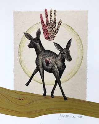 """Deer, Healing Hand, approx 10""""h x 8""""w, relief engraving, collage, mixed media SOLD"""
