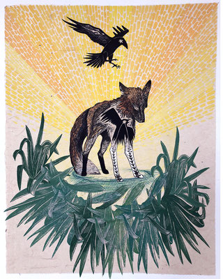 """Fox: Radiant, 20""""h x 16""""w, multiple plate relief engraving and collage. $500, AVAILABLE"""