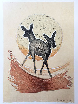 "Double Deer: Earth, approx 12""h x 9""w, relief engraving, mixed media, $200"