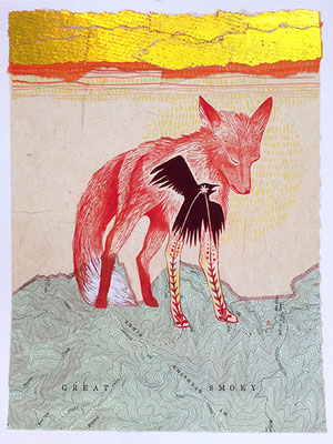 "Fox: Journey, approx 14""h x 11""w, relief engraving, mixed media, collage"