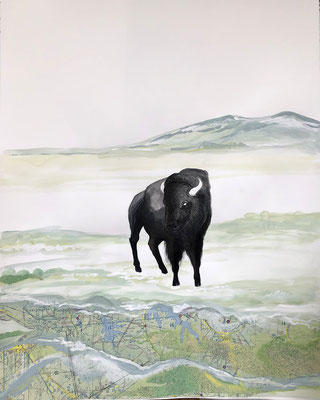 "Buffalo Tryptic, part 2, 28""h x 22""w, India Ink, acrylic, collage. $1200"