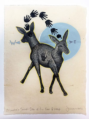 "Mountain Saint: Deer of East West. 2016, approx 10""h x 8""w, relief engraving and acrylic. SOLD, Inquire on CONTACT page for similar commission."