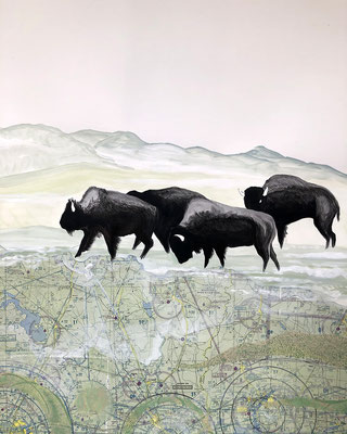 """Buffalo Tryptic, part 1, 28""""h x 22""""w, India Ink, acrylic, collage. $1200"""