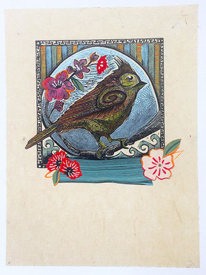 """Titmouse: Blossom I, 10""""h x 8""""w, relief engraving, mixed media, collage, SOLD"""